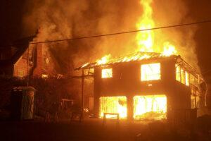burning house down