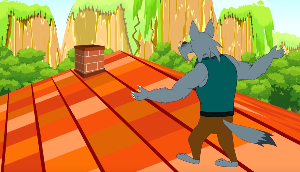 A wolf was struggling to reach the chimney
